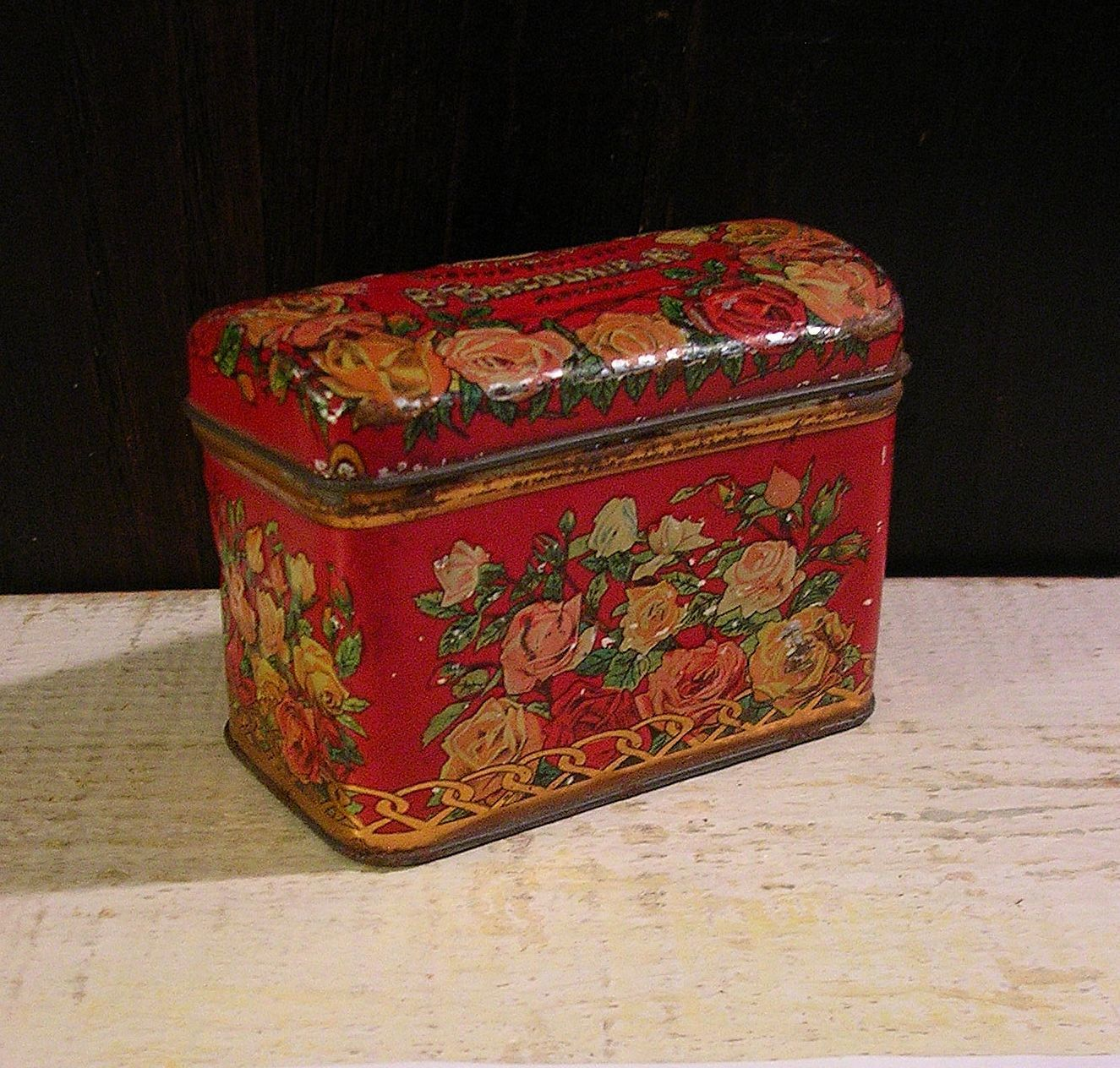 Early Russian Tea Tin Small Red Treasure Chest Embossed