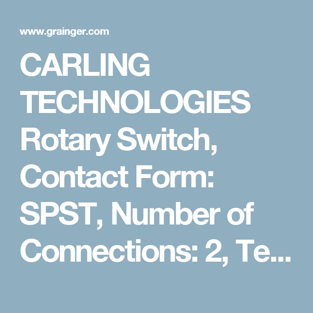 Rotary Switch, Contact Form: SPST, Number of Connections: 2 ...