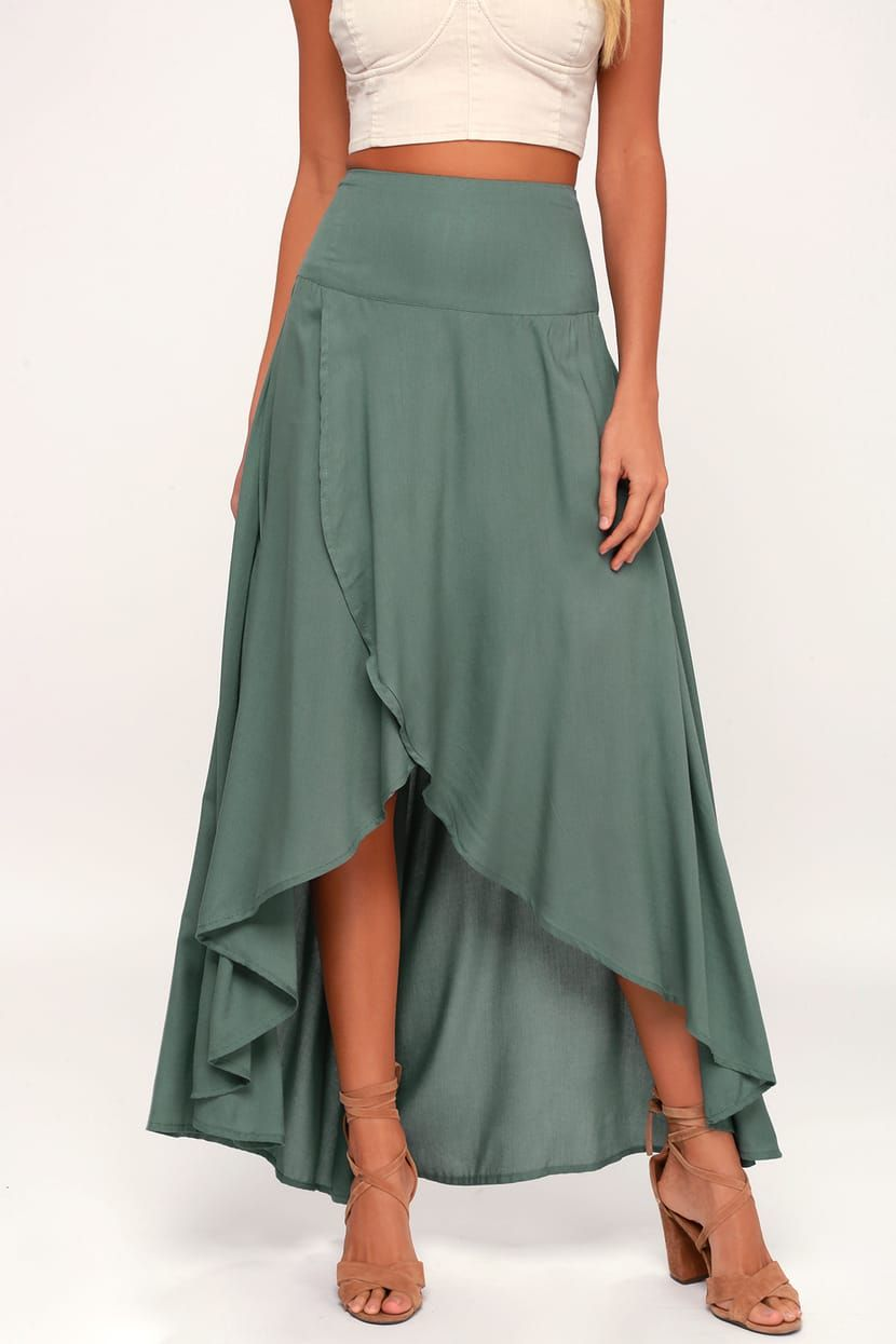 6b8117bd4 Lulus | Ambrosio Dark Sage Green High-Low Maxi Skirt | Size Large in ...