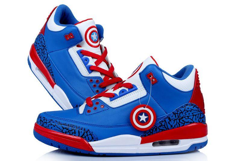 Captain America Jordans  Air Jordan Retro 3 Captain America Basketball  Shoes in 98941, cheap