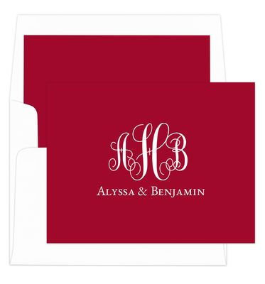 Red Fancy Script Monogram Foldover Note Cards