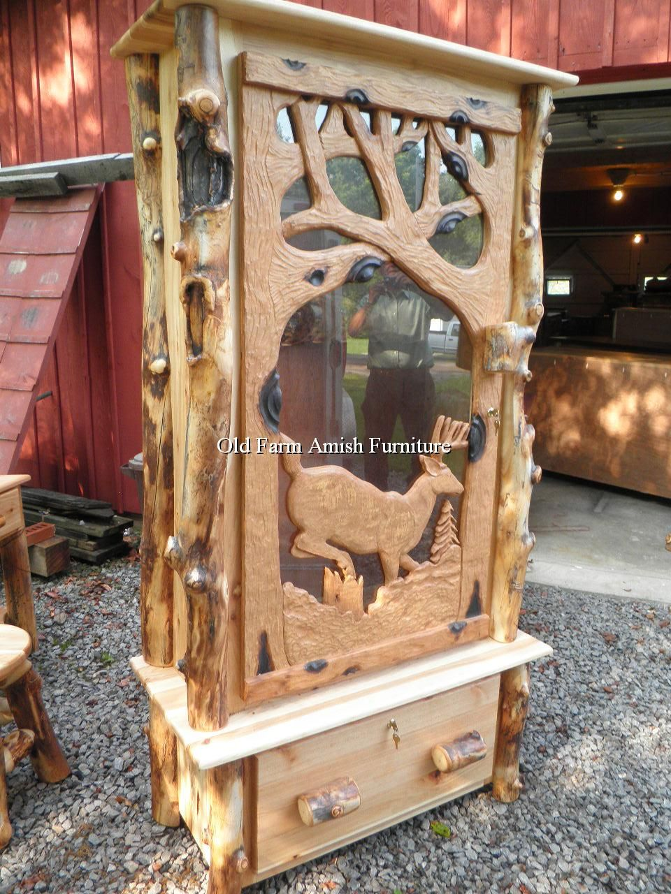 Aspen Log Handcarved Buck Gun Cabinet Old Farm Amish Furniture