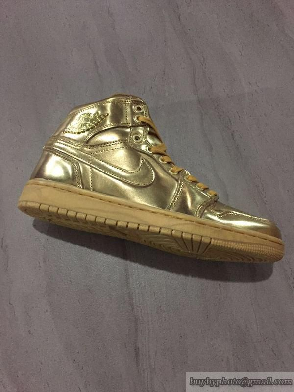2c416d9cf54d4f Men s Air Jordan 1 AJ1 Jordan 1 basketball Shoes Private Custom Liquid Gold   Air Jordan 1  AJ1 Liquid Gold  popular