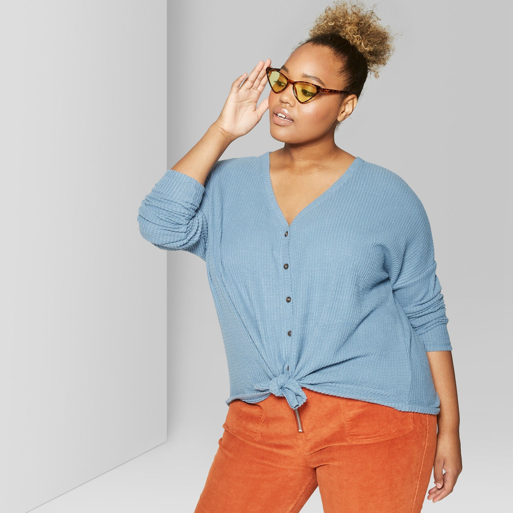 eb3364598a0 Women s Plus Size Oversized Long Sleeve Thermal Front Tie T-Shirt - Wild  Fable Denim Blue 3X