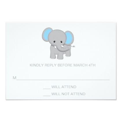 Elephant Baby Shower Rsvp Response Card Zazzle Com Various