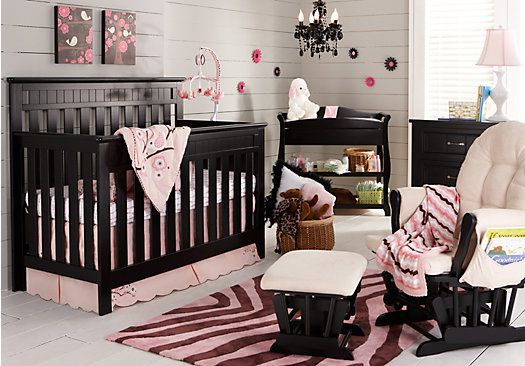 Shop For A Zaria 4 Pc Black Nursery At Rooms To Go Kids Find That Will Look Great In Your Home And Co Baby Girl Nursery Room Girl Nursery Room Baby