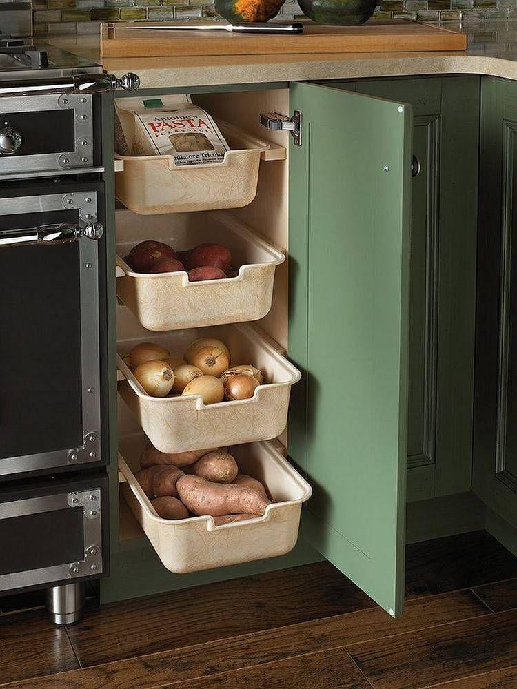 Meuble d\'angle cuisine moderne et rangements rotatifs en 35 photos