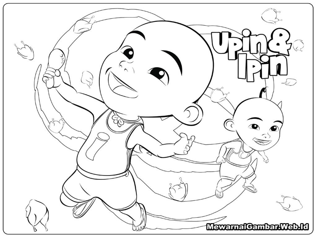 Upin Ipin Happy Coloring Page