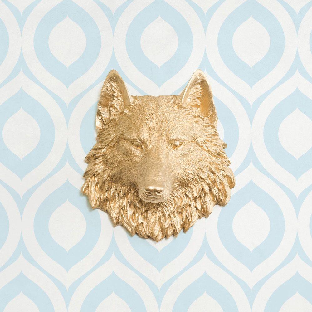 The Sierra Mini in Gold - Wolf Faux Taxidermy Fauxidermy Fake Animal ...