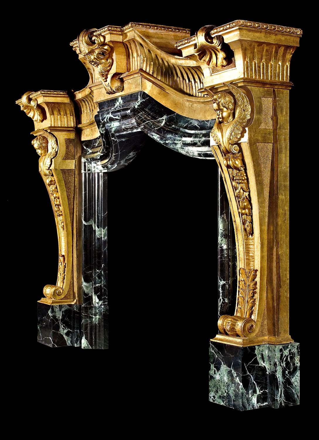 castle fireplaces | palazzo fireplace mantel in carved gilded wood
