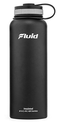 Insulated Stainless Steel Water Bottle By Fluid Sports (Black) - 40 Oz, Wide Mouth, BPA Free, Bonus Flip-top Lid Included *** You can find more details by visiting the image link.