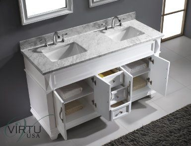 Virtu Usa 60 Victoria Double Square Sink Bathroom Vanity Set In