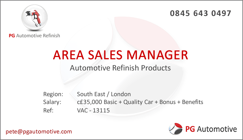 Job Vacancy Area Sales Manager Automotive Refinish South East