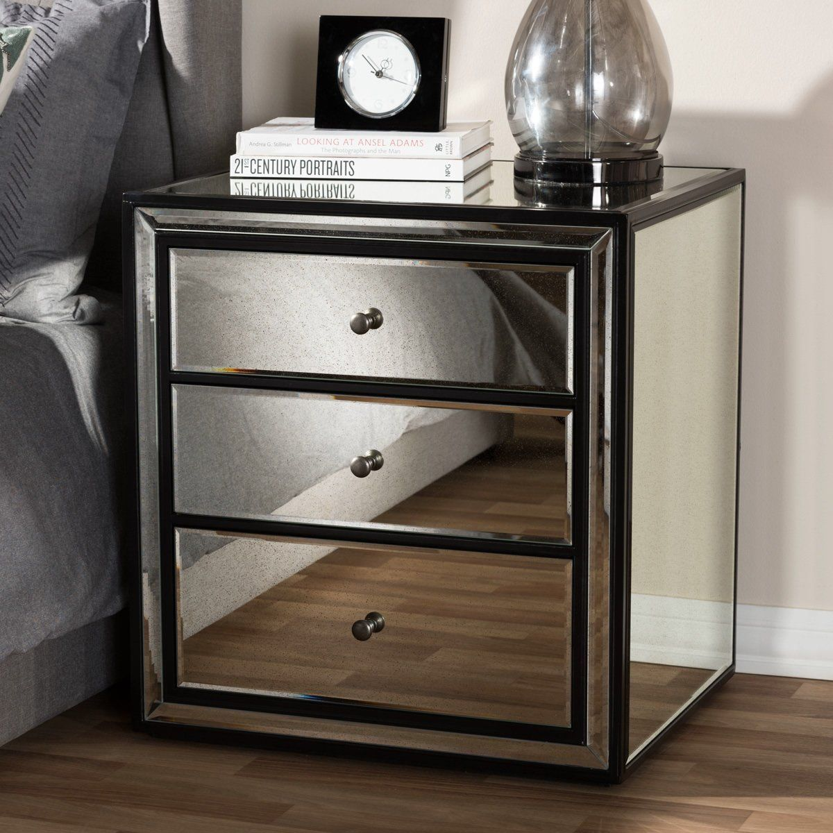 Baxton Studio Avatar Art Deco Style 3 Drawer Mirrored Nightstand Rs2654 Thanks To A Striking Mirrored Nightstand Mirrored Furniture Bedroom Furniture Stores