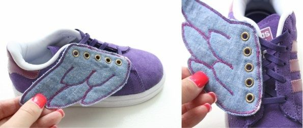 Winged shoes tutorial by My Poppet. I just made a red and silver pair for my son. Awesome.