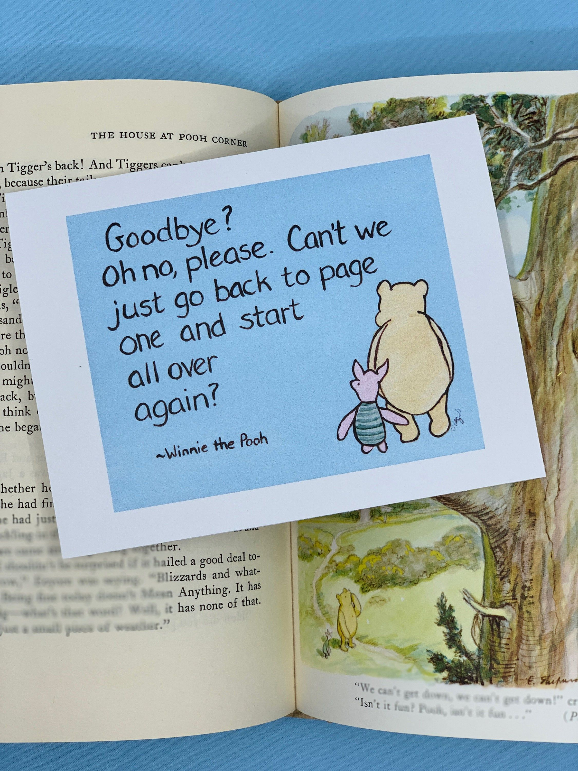 Pooh and Eeyore goodbye card goodbye card Winnie the Pooh quote