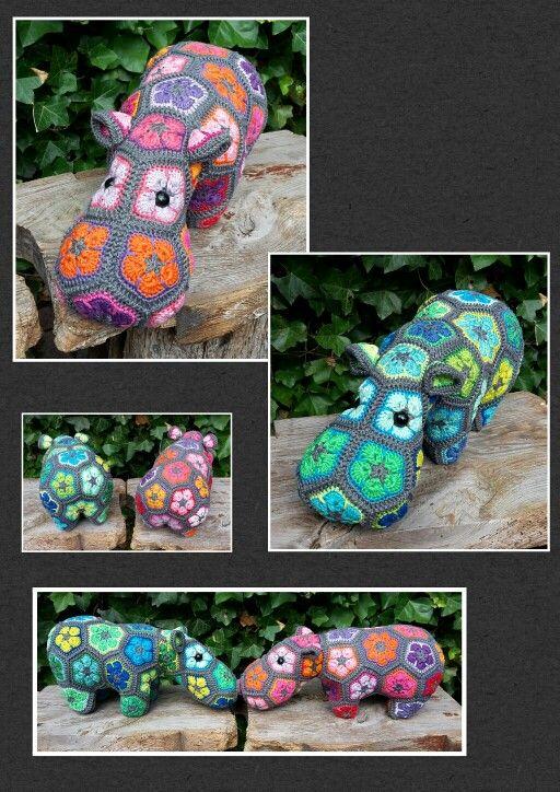 Happypotamus grijs-blauw-groen  Happypotamus grijs/roze/oranje  (Pattern by Heidi Bears)