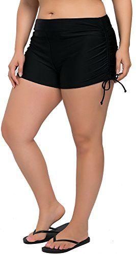 d627bc5ec3683 Sociala Women's Plus Size Swim Shorts Boyleg Swimsuit Bottoms Beach  Boardshorts