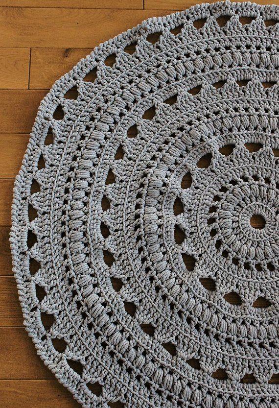 Ready To Ship 4ft 130cm Handmade Chunky Crochet Mega Doily Rug Light Grey Carpet Handmade Rugs Crochet Rug