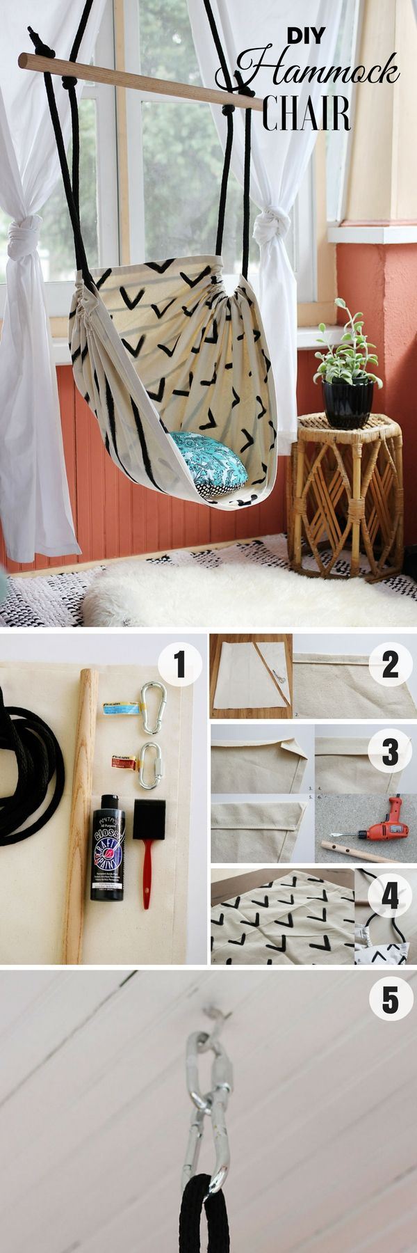 Check out how to make an easy DIY Hammock Chair for bedroom decor