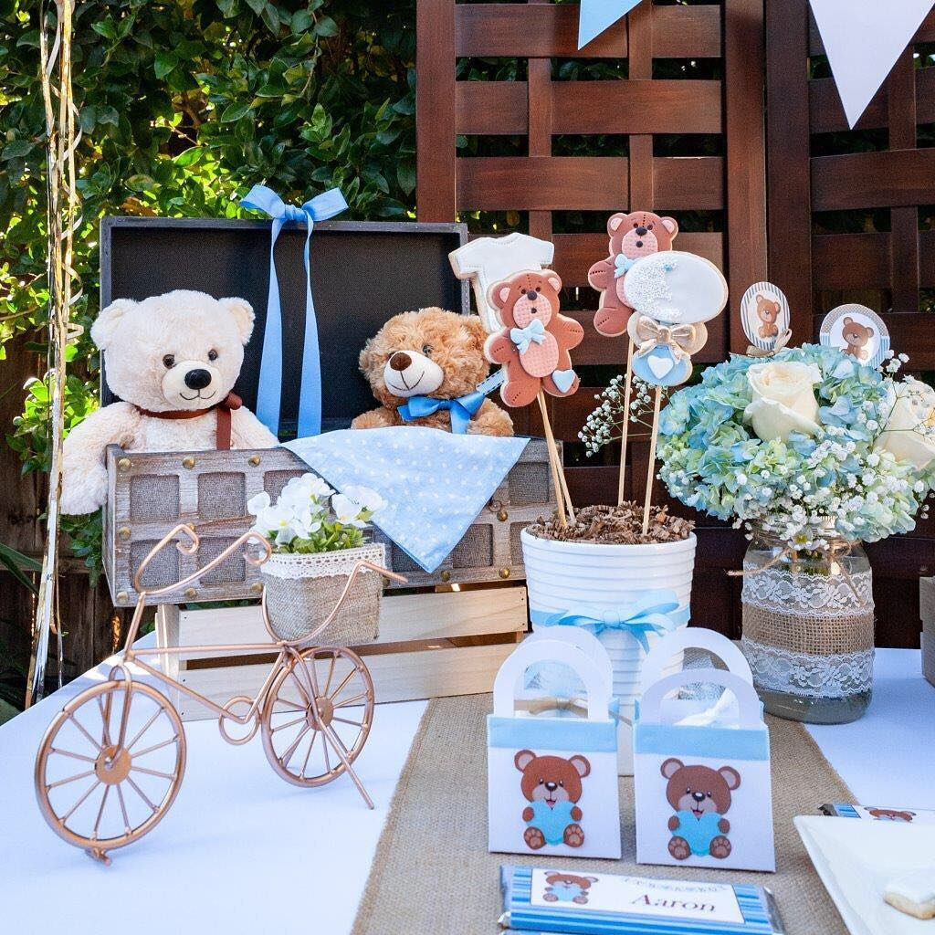 Blue Teddy Bears Baby Shower Charms