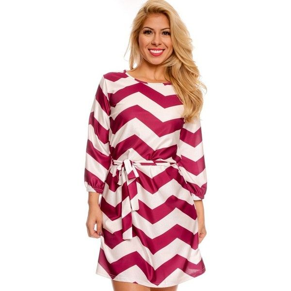 PURPLE LONG SLEEVE CHEVRON DESIGN CASUAL DRESS (420 ZAR) ❤ liked on Polyvore featuring dresses