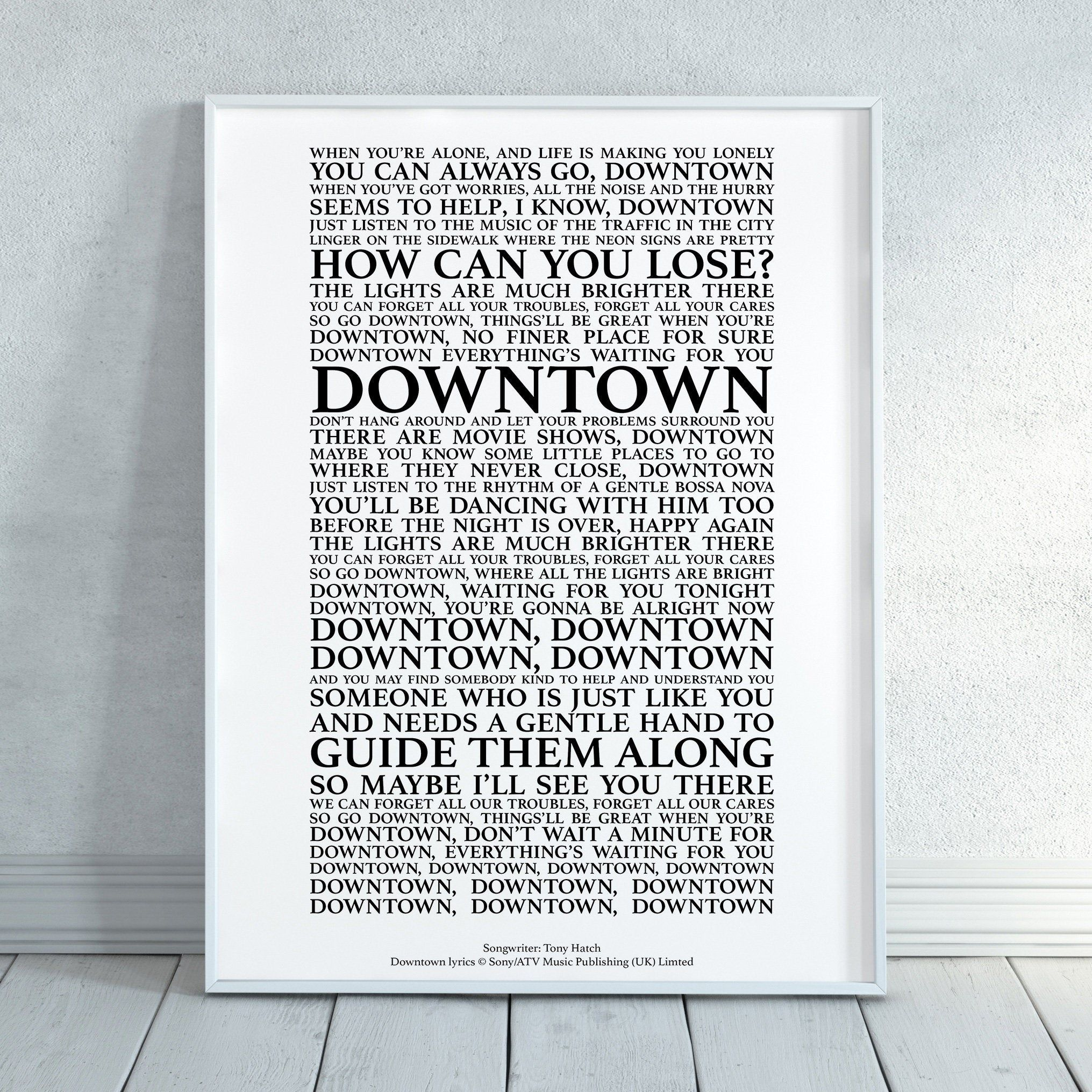 Downtown Song Lyrics Print Official Licensed Print Poster (Unframed)