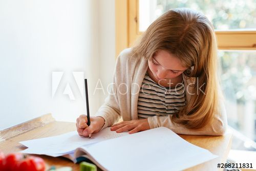 Girl studying at home , #Ad, #Girl, #studying, #home #Ad