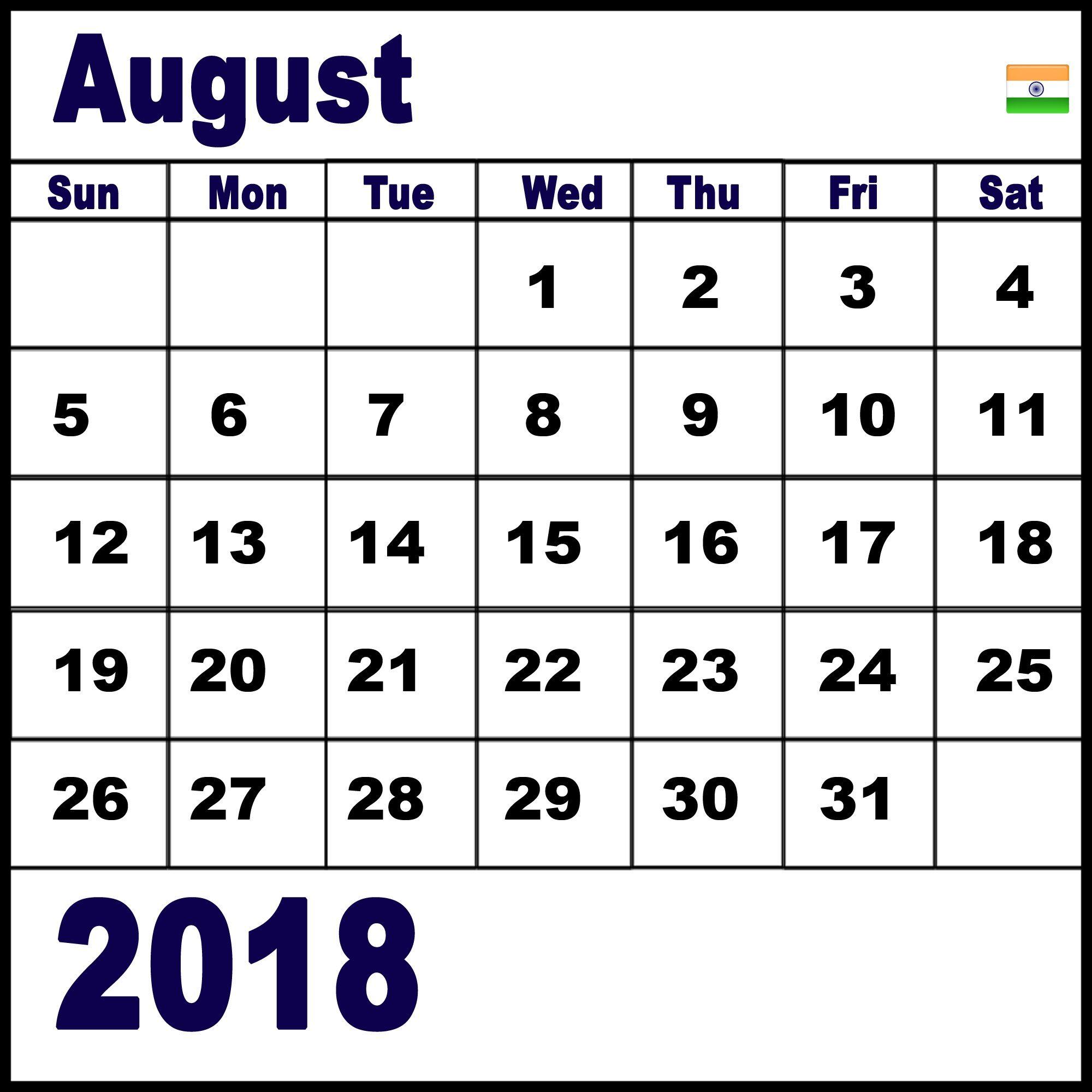 Printable August 2018 Calendar With Holidays Calendar Word