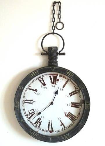 D co wc grande style ancienne horloge murale de gare d - Horloge murale style gare ...