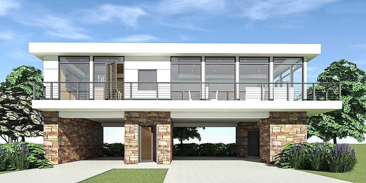 Plan 44147td 2 Bed Modern Home With Carport Parking Below Modern Style House Plans Modern House Plans Modern Carport