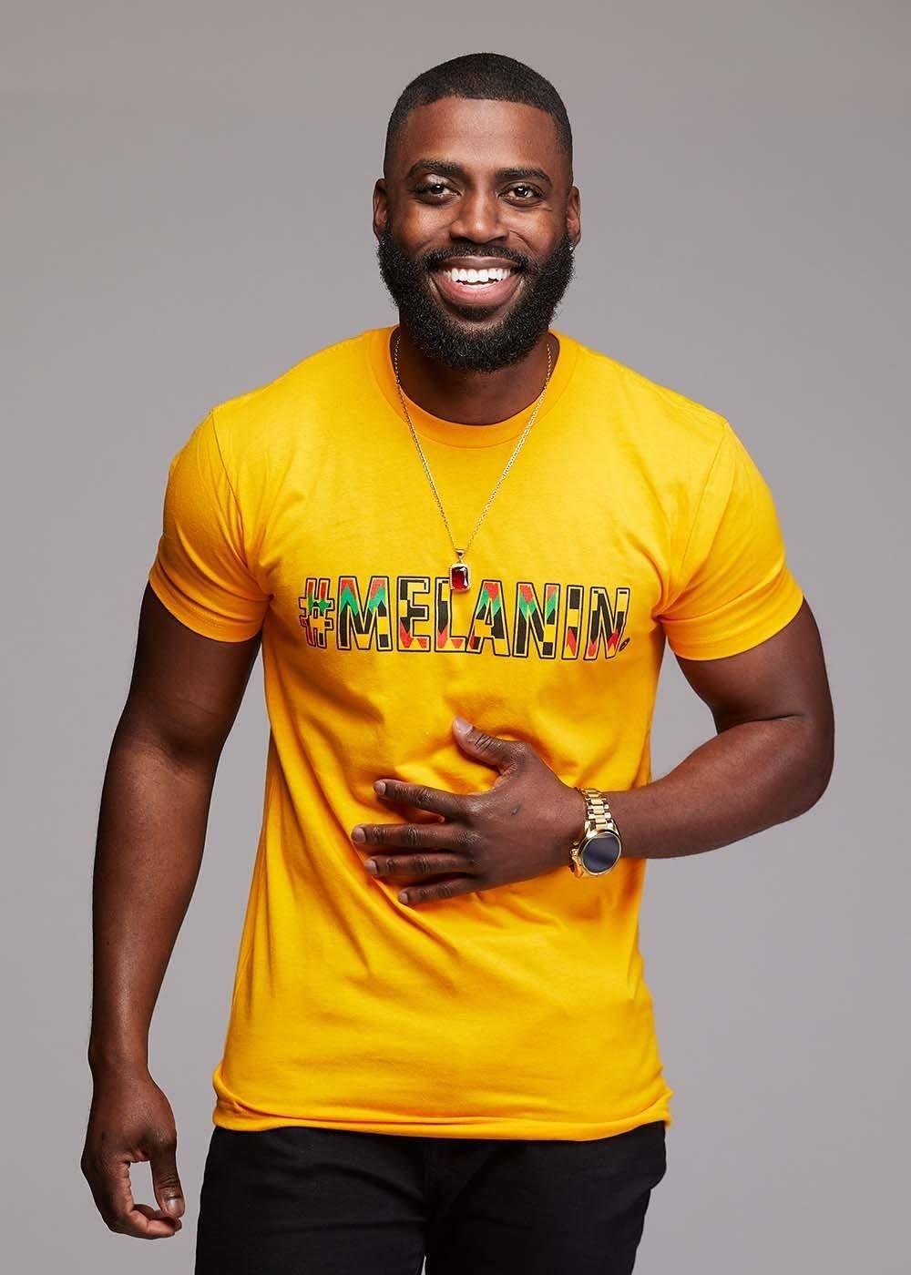 43788cb6dfb1b2 Akono Men s Melanin African Print T-Shirt (Gold Yellow Black Kente ...