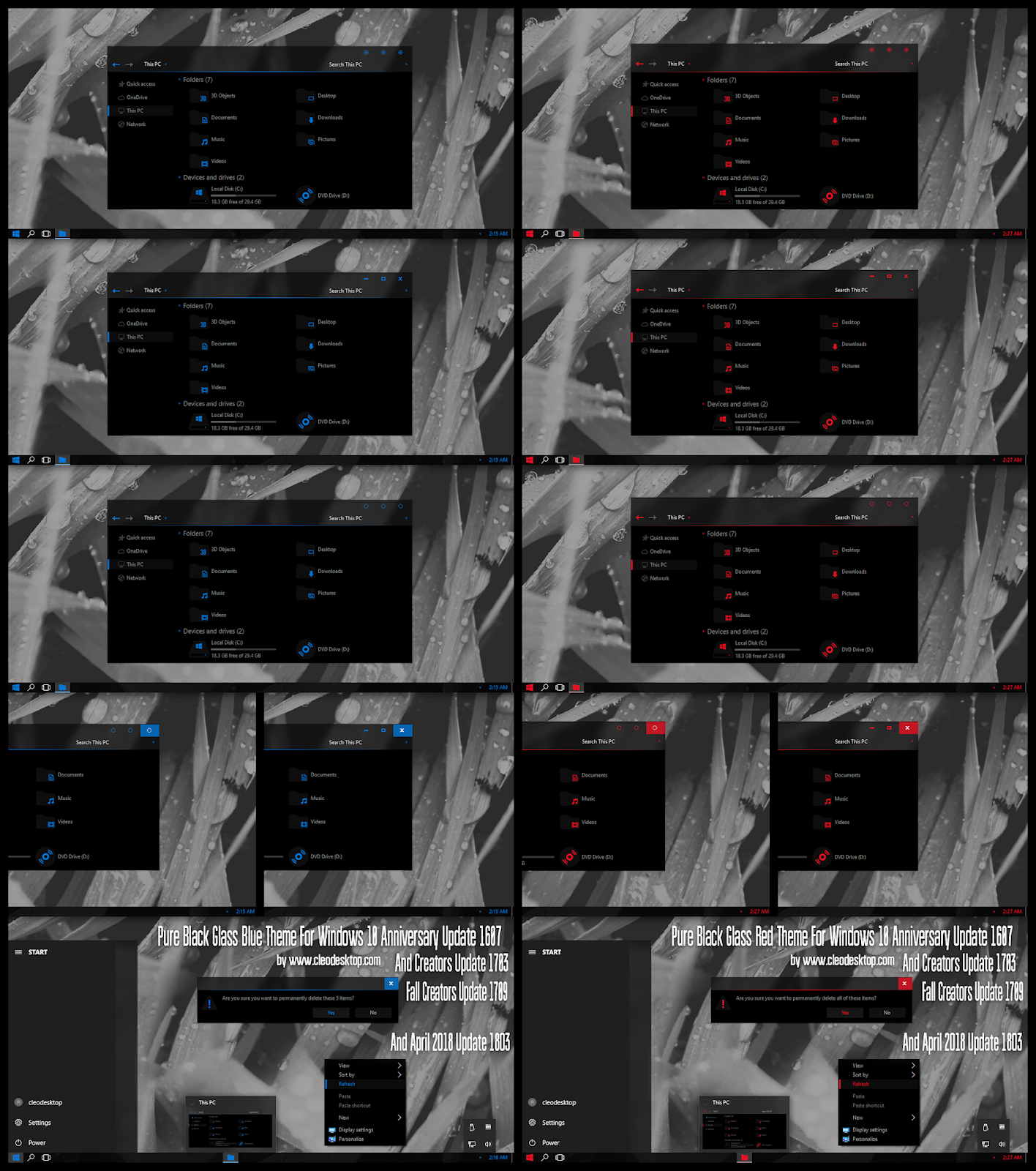 windows10 themes i cleodesktop pure black glass blue and red theme