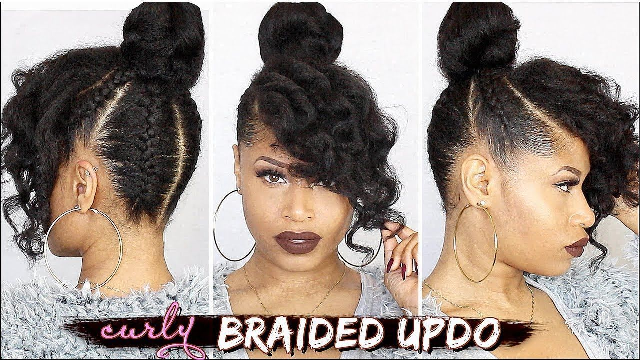 Beautiful Curly Braided Updo Tutorial On Stretched Hair Braided Curly Updo Natural Hair Styles Natural Hair Tutorials