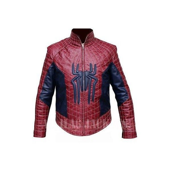 The Amazing Spiderman 2 Leather Jacket ❤ liked on Polyvore featuring outerwear, jackets, red jacket, real leather jackets, 100 leather jacket, leather jackets and red leather jacket