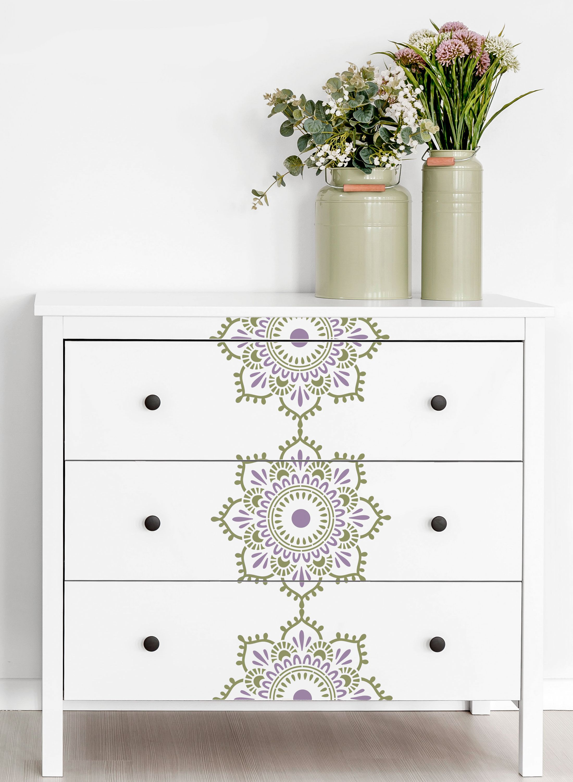 Dresser With Stenciled Mandala Pattern Running Down The Front Stencil Furniture Patterned Furniture Furniture Makeover Diy