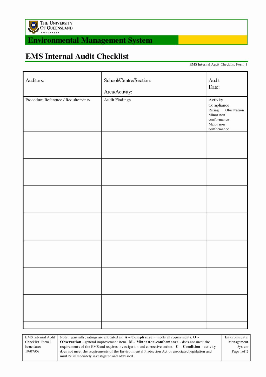 Internal Audit Forms Template Awesome Audit Form Template Example