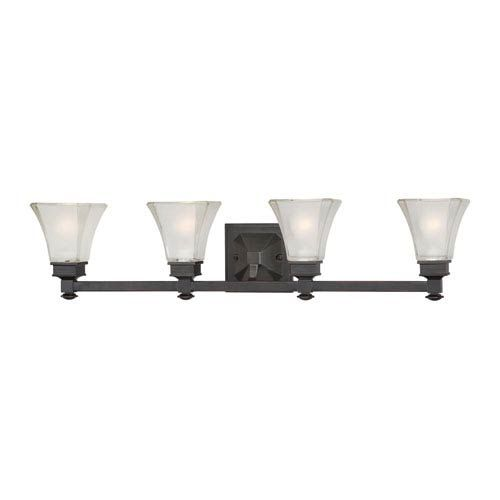 Photo of Designers Fountain 6664-BBR Canterbury Four-Light Bath Fixture w / Satin Etched Glass in Biscayne Bronze, Victorian | Bellacor