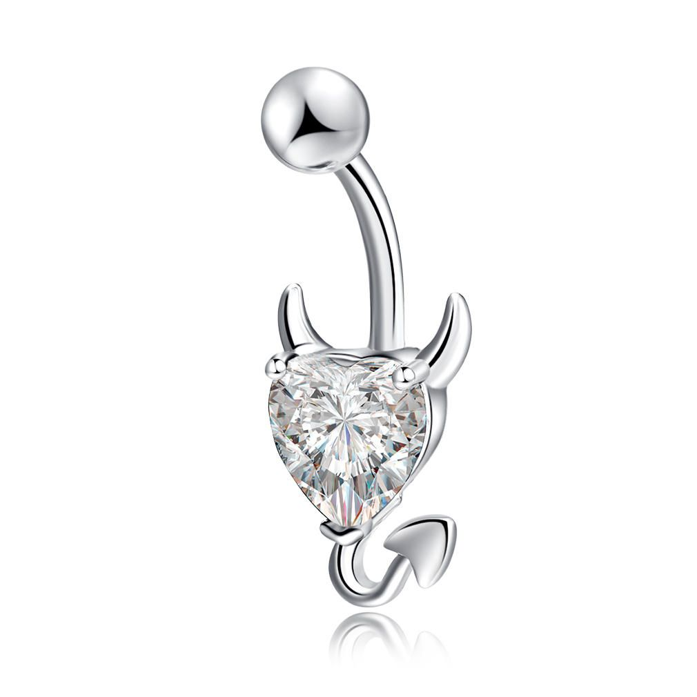 Belly button piercing side view  Trendy Dazzling Heart Zirconia Devil Style Belly Button Ring at