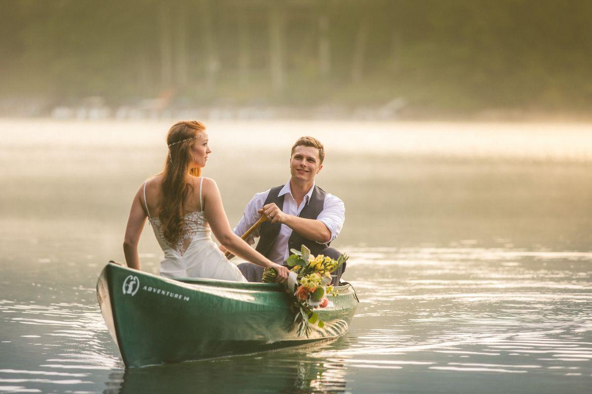 Day after shoot.  Canoe.  A Vintage Elegant North Carolina Wedding via TheELD.com