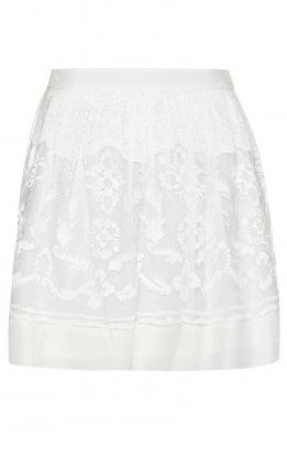 Embroidered Silk Organza Crepe Skirt (dif color)