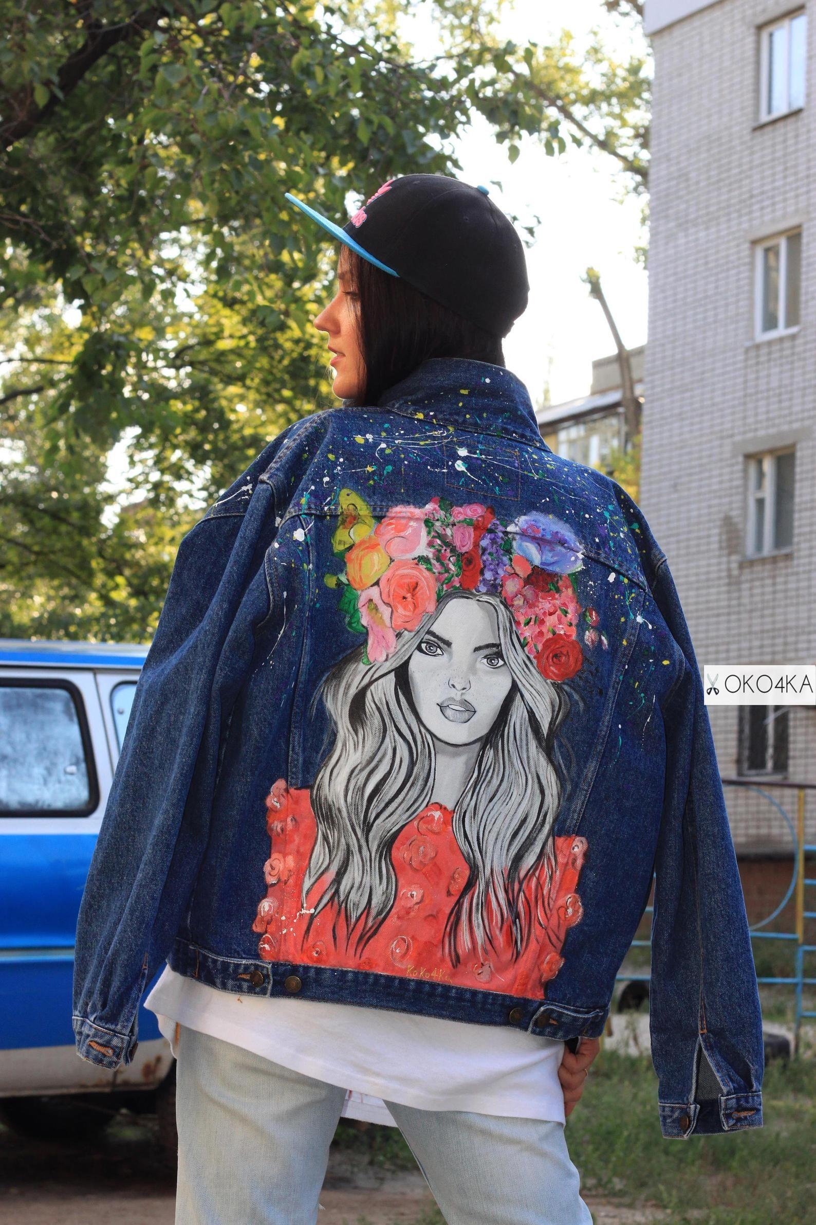 Handpainted denim Jacket painting Jacket with art work on Art on Denim jean Jacket with art pop-art Drawing flowers wreath flowers View item