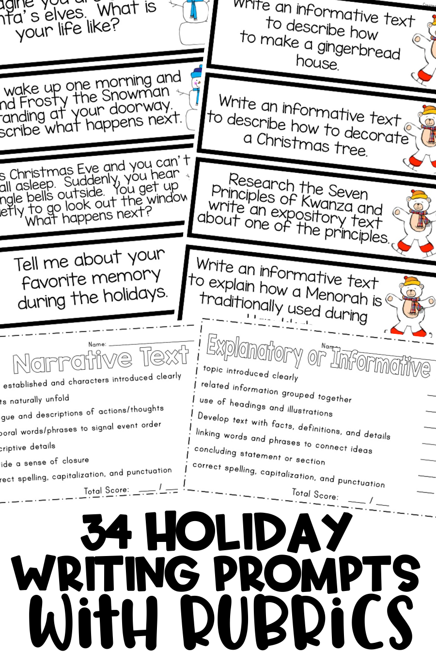 Winter Holiday Writing {Writing Prompts for the Common