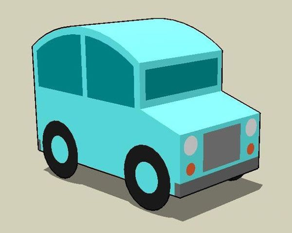 papercraft for kids very simple little car paper model free template download http
