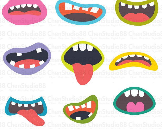 Monster Mouths Vector Digital Clipart Instant Download Eps And Png Files Included Digital Clip Art Monster Mouth Clip Art
