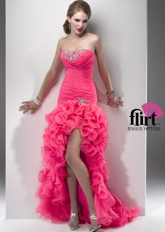 Flirt by Maggie Sottero P4704 - Pink, White Strapless Hi-Lo Prom ...