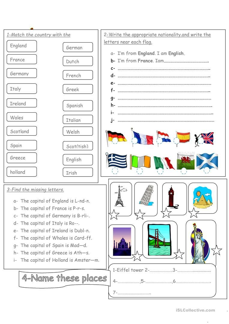 Countries Nationalities Flags Capital Cities And Famous Places Worksheet Free Esl Printable Worksheets English Activities English Classroom English Lessons [ 1079 x 763 Pixel ]