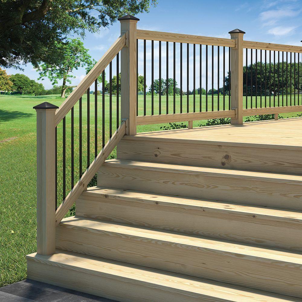 Deckorail 6 Ft Pressure Treated Aluminum Solid Lightning Rail | Pressure Treated Round Handrail | Menards | Aluminum Balusters | Baluster | Cedar | Porch