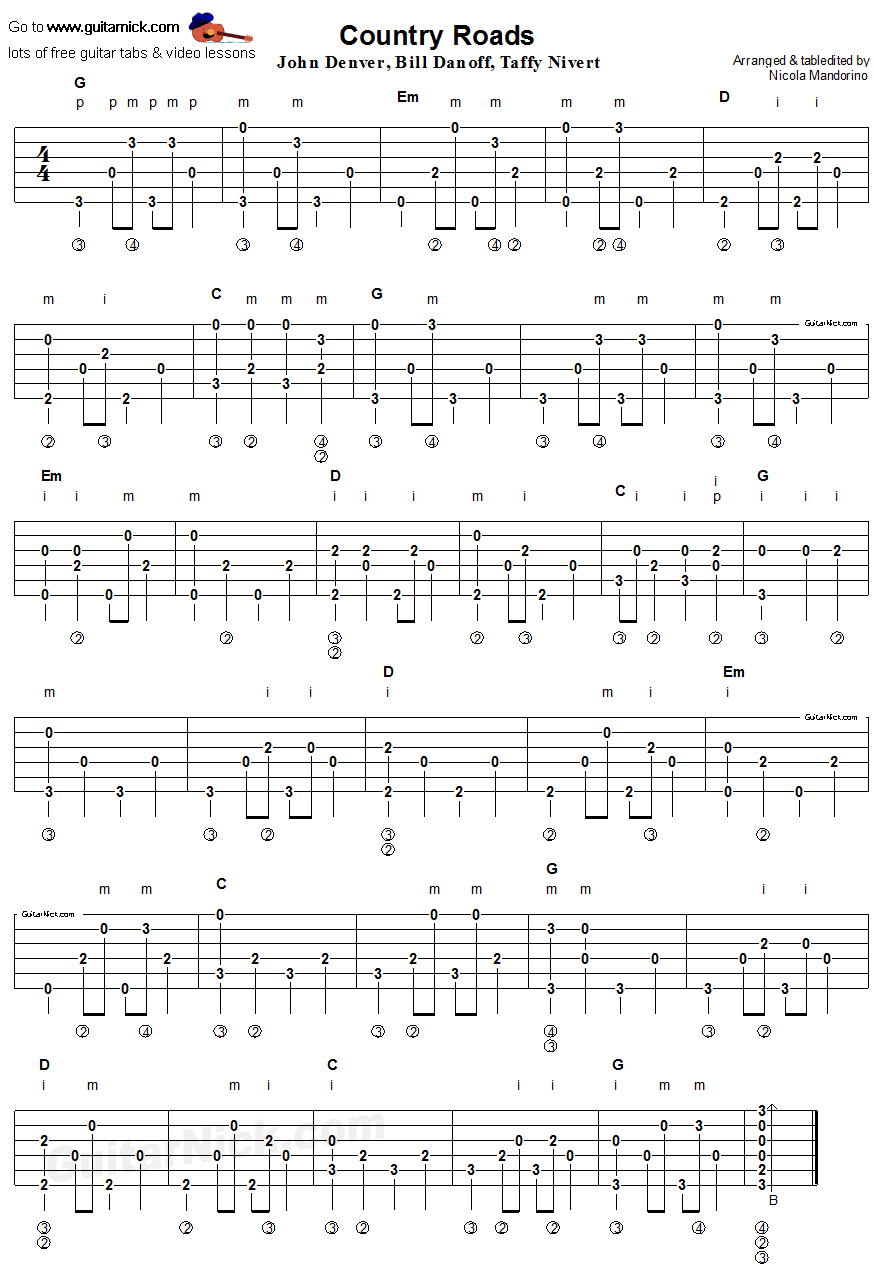 Country Roads Fingerpicking Guitar Tab