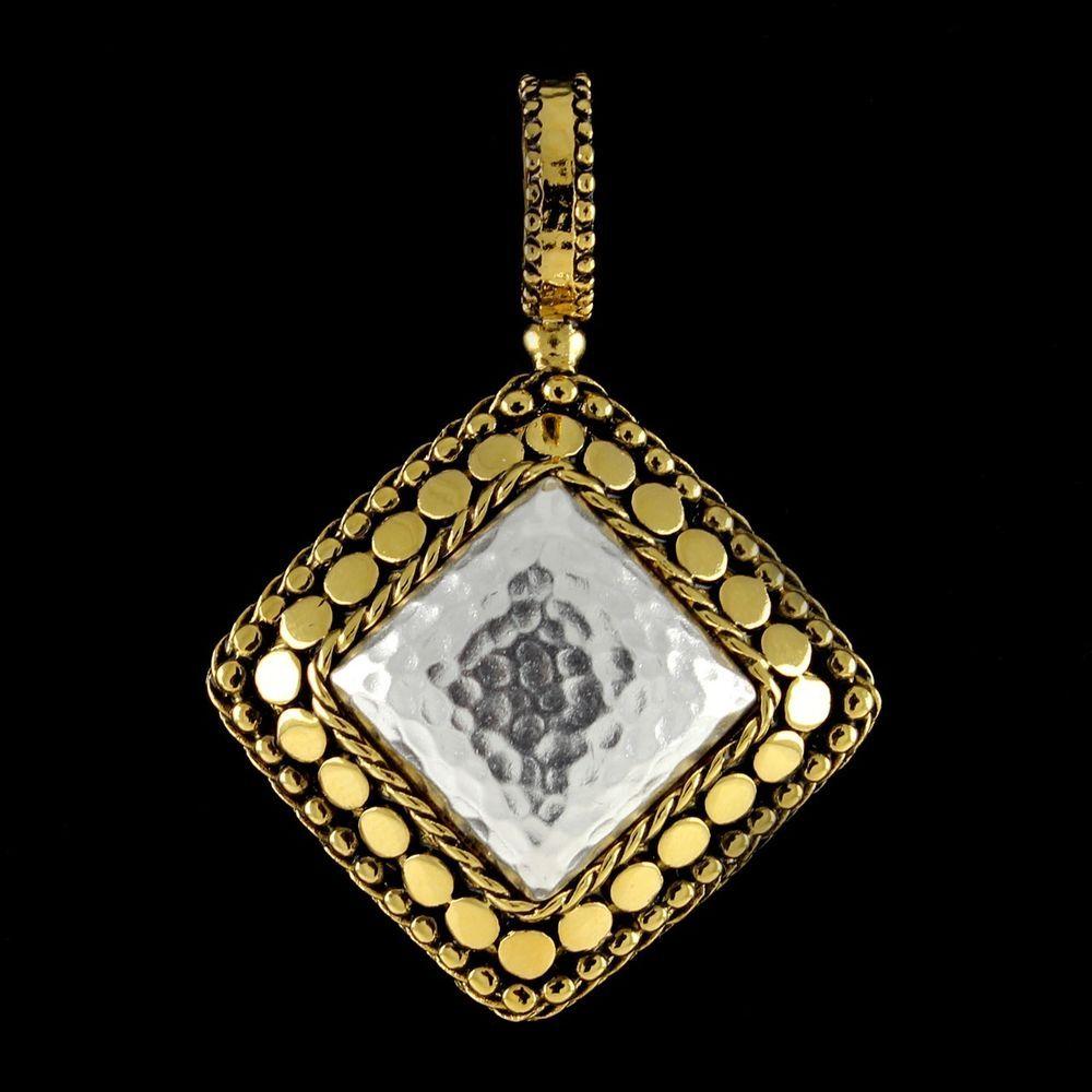 Joan Rivers Yellow Gold Plated Hammered & Texture Diamond Shaped Pendant H851 #JoanRivers #DiamondShapedPendant